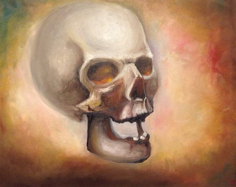 Oil painting of skull