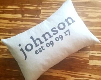 Custom Last Name Pillow