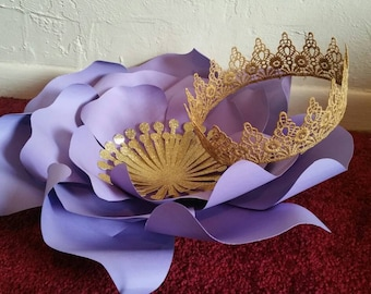 Doris lace crown, lace crown, gold lace crown