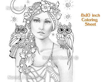 Sweet Pea & The New Moon Fairy Tangles grayscale Printable Coloring Sheets Fairies Owl Adult Coloring Pages for coloring digital coloring