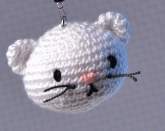 Cat amigurumi key ring, cute handmade crochet animal, excellent gift or personal accessory, .