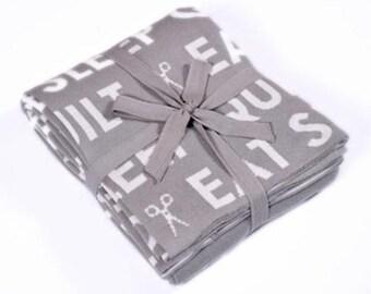 Throw - Eat Sleep Quilt Grey White THROW 12 Moda