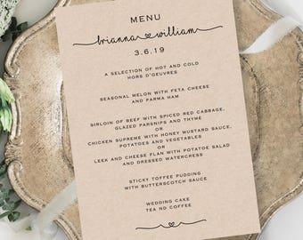 Rustic Wedding Menu Template - Printable Wedding Menu - print on Kraft card - TEMPLETT - Brianna