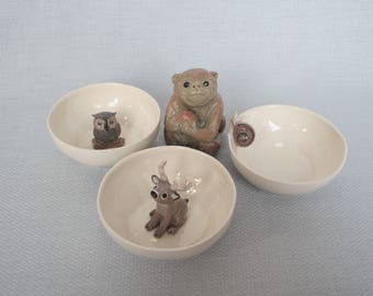 Reserved - 3 Ceramic tea cups with owl snail deer and monkey - faience animal figurines - reserved
