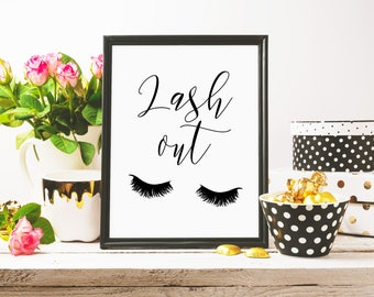 Lash Out, Funny Eyelashes Print, Makeup Art Print, Lashes Art, Beauty Print, Chic Bedroom Decor, Chic Print, Teen Girl Room, Digital Print