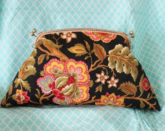 26cm Kiss lock purse, Purses & handbag, Flower clutch bag, Metal frame purse  K1801