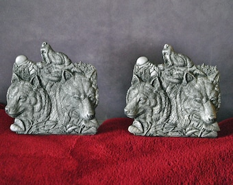 2 Pewter Bookends - Three Wolf Heads