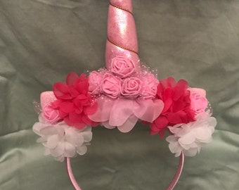 Pink and white unicorn headband