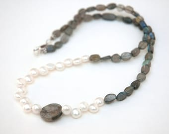 Labradorite Necklace, Pearl necklace, Semiprecious stone, Sterling silver Jewelry, Gift for her, Wedding bride, Unique jewelry