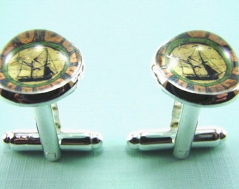 Mens TRADITIONAL SAILING BARGE Silver Cuff Links -- Classic sailing boat in full sail, Cuff links for casual and formal wear
