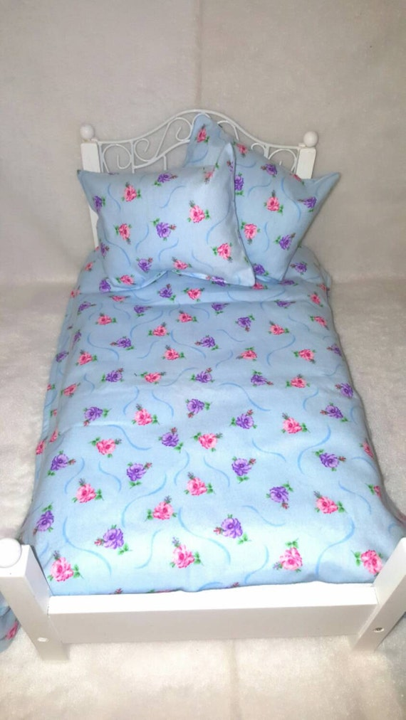 18 inch Girl Doll Blue Floral Fleece Sheet Set