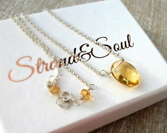 Citrine Necklace On Sterling Silver Rolo Chain - November Birthstone - Gift For Her