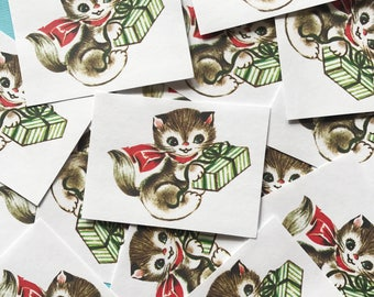 Kitten Stickers - Set of 16 - Handmade Stickers, Vintage Christmas, Cute Planner Stickers, Cute Christmas, Holiday Stickers, Vintage Kitten
