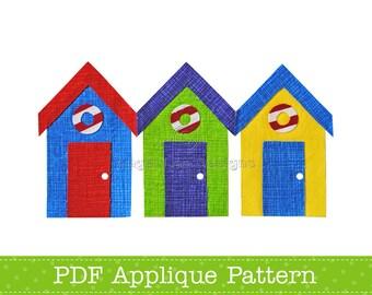 Beach Huts Applique Template Bathing Huts PDF Applique Pattern Summer Applique Design