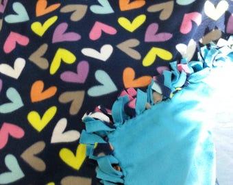 Multi Colored Heart Fleece Blanket