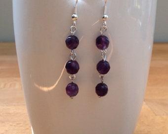 Round amethyst gemstone earrings