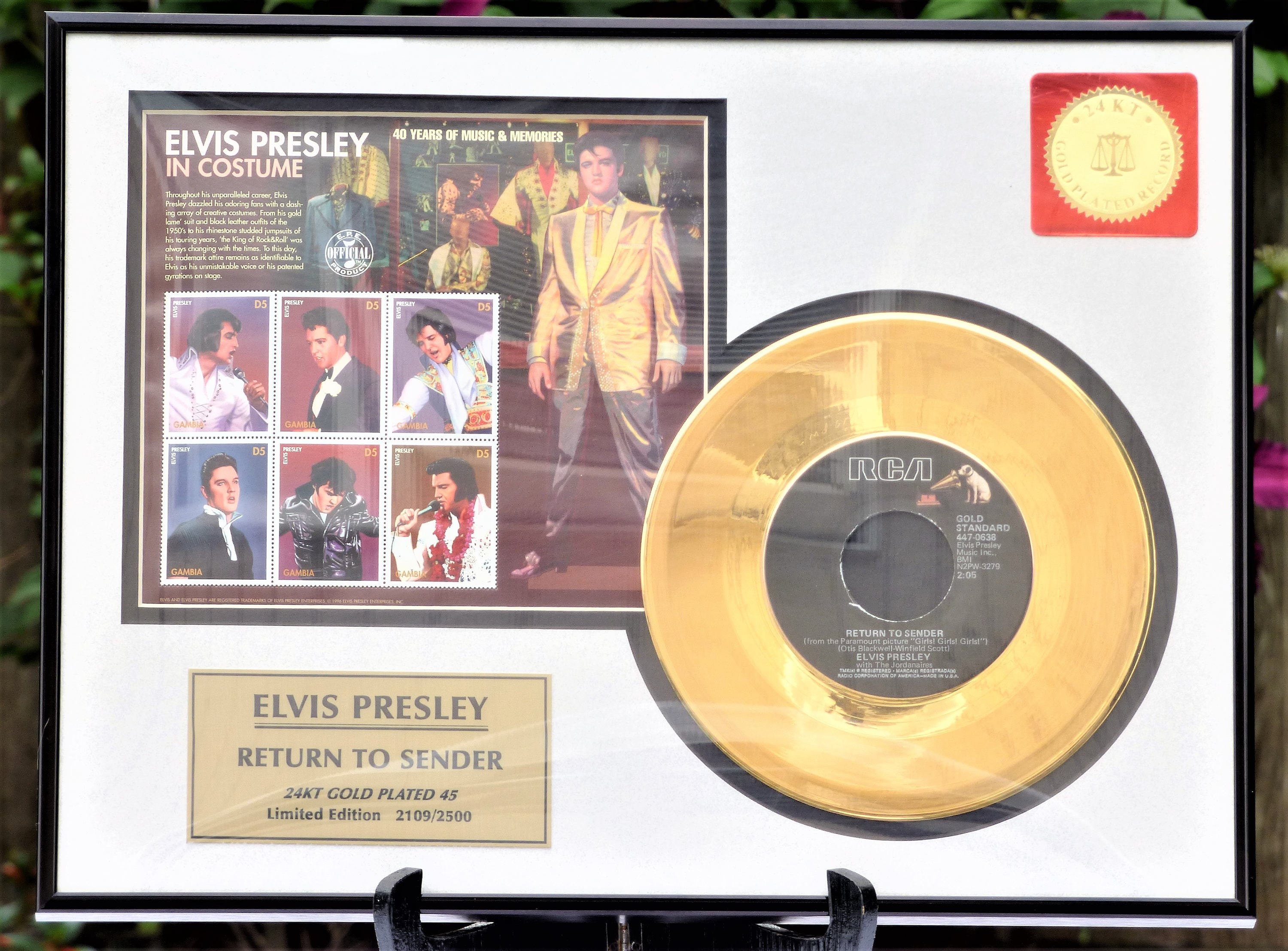1996 Framed Elvis Presley Return To Sender 24KT
