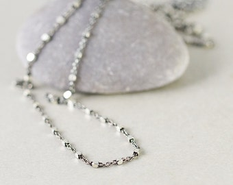 Sterling Chain Necklace, Oxidized Silver Chain, Two Tone Necklace