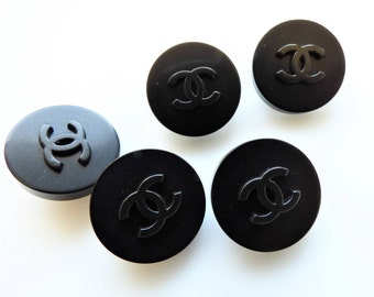 Chanel All Black CC Buttons 18mm, 20mm signed / Price is for one button