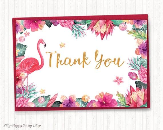 Popular Pink Flamingo Thank You Card Flamingo Theme Party Favor UW79