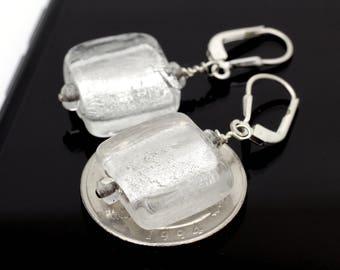 Silver Venetian Glass Square Earrings on Sterling Silver 925 15mm