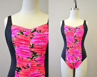 1980s Sea Fair Pink Floral Ruched Swimsuit