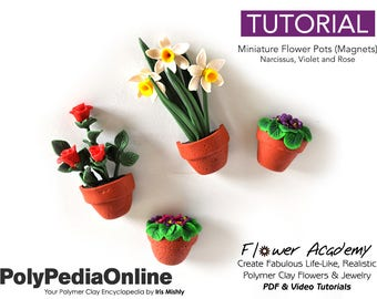 Polymer Clay Tutorial, Polymer Clay Miniatures, Miniature Flower, DIY Handmade Beads, Polymer Clay Flowers, DIY Flowers, Fridge Magnet