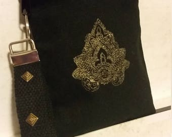 Bohemian wristlet, hippie bag, black wristlet,  boho purse, embellished bag