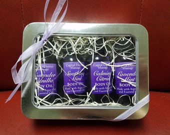 Set of 4 Body Oils, Gift Box with Lavender, Mint, Vanilla, and Citrus Argan Oil