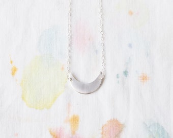 Tiny Crescent Necklace in Brass or Sterling Silver Twilight Moon Wanderlust Charm