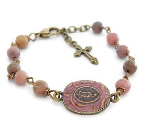 Our Lady of Guadalupe Pink Gemstone Bracelet - Catholic Jewelry - Religious Gift for her- Mexican Catholic - Blessed Virgin Mary of Mexico