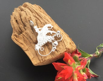 Reining Horse silhouette pendant, sterling silver, Artisan Handmade and Hand engraved , P7