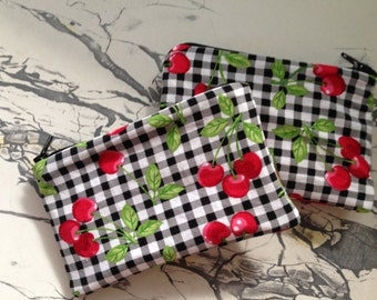 """NEW Retro Black Gingham and Cherries and Oilcloth Makeup Cosmetic Zipper Pouch Clutch Wet Bag 3.5"""" x 5.25"""""""