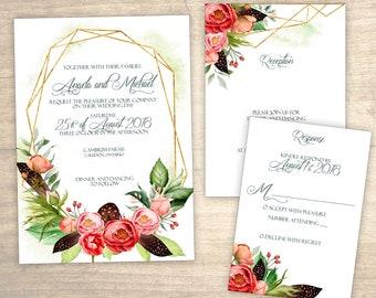 Geometric Floral Printable Wedding Invitation design No. 220 - personalized invitation for wedding, bridal shower, baby shower DIY