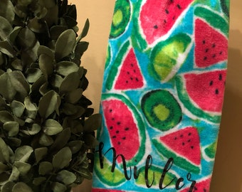 watermelon towel- hand towel- personalized hand towel- monogrammed hand towel- hostess gift- housewarming gift- wedding gift- gift for her