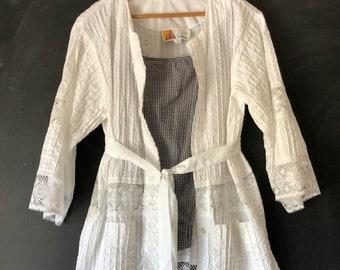 Vintage Salma White Lace pintuck Beach Cover Kimono Tunic