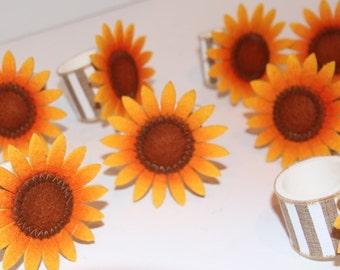 Sunflower Napkin Rings Set of 8