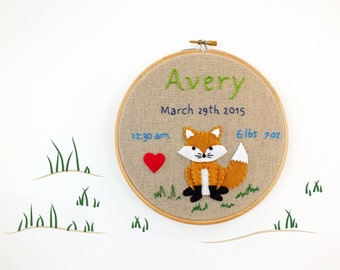 Woodland nursery decor, baby birth stats announcement keepsake, personalized embroidery hoop, customized baby name art, new baby gift idea
