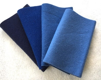 """Felted Wool, Colonial Blue Gradation, Four 6"""" x 16"""" pieces in Deep, Dusty Blue"""