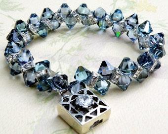 Blue Crystal Tennis Bracelet, Sapphire Swarovski Crystals, September Birthday Gift, Birthstone, Mother of the Bride Handmade Wedding Jewelry