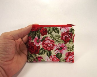 Rose floral zipper pouch, pink rose card wallet, green bright pink floral, coin purse, red roses, coin pouch bag clutch, large zipper pouch