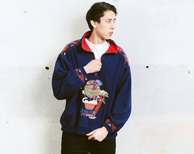 Vintage Fleece Sweatshirt . 90s Soft Fleece Sweater Unisex Pullover Cozy Comfy Sweater Boyfriend Gift Mens Smock Jacket . size  Large