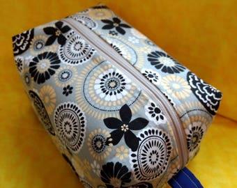 Yellow, grey,black pinwheel and flower makeup bag