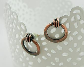 Copper studs, Wire wrapped jewelry handmade, Copper stud earrings, Copper post earrings, Copper jewelry handmade, Copper Jewelry
