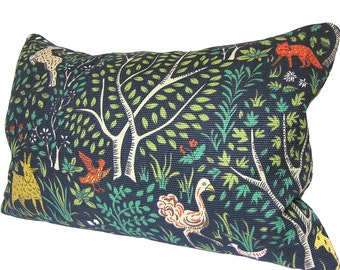 Custom Pillow Cover / Folkland by Robert Allen in Admiral / Forest Animals / Flora Fauna / Deer Rabbit Goat / Both Sides / Made to Order