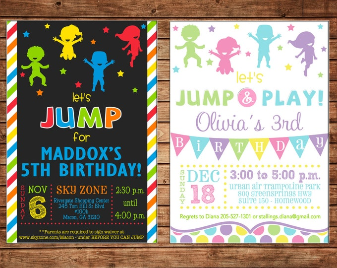 Boy or Girl Invitation Trampoline Bounce House Inflatable Birthday Party - Can personalize colors /wording - Printable File or Printed Cards