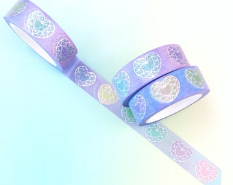 Rainbow Gem Heart Holo Washi