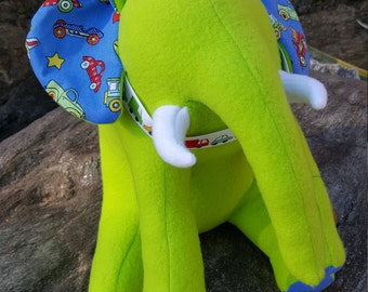 """Green Plush Elephant - """"Zoom"""" - Planes, Trains and Automobiles"""