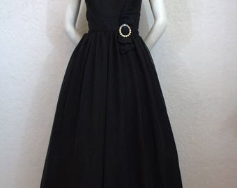 """1960's """"S. Eisenberg"""" Long Black Formal Dress / Gown with Rhinestone Buckle on Bow / Size: 29"""" Waist"""
