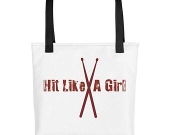 Hit Like A Girl drumsticks tote bag